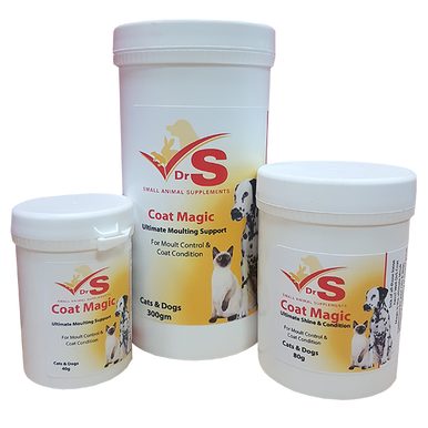 Simply added to food on a daily basis, DrS Coat Magic maintains excellent coat condition in cats and dogs.