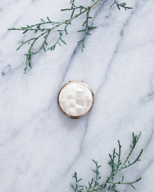 vintage solid perfume compact - round pearl box