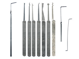 8 Piece Laminated Plain Handle Lock Pick Set