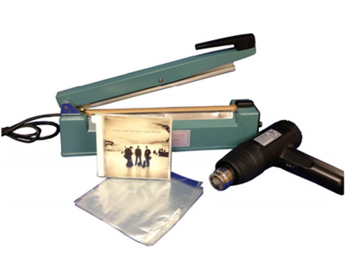 Shrink Wrapping Kit with 8 inch Hand Sealer, Heat Gun, and 6.5 x 10.5 PVC Shrink Bags