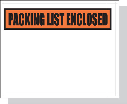 Packing List Envelopes, Packing List Enclosed, Small Top Print, 4 1/2 X 5 1/2, 1000/case