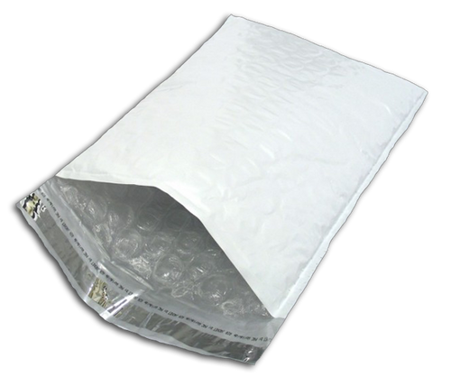 Self-Sealing Poly Bubble Mailers, 8 1/2 x 13 1/2, White, 100/case