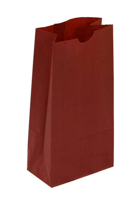 #2 Colored Lunch Bag, 4 1/4 x 2 3/8 x 8 3/16, Red, 500/case