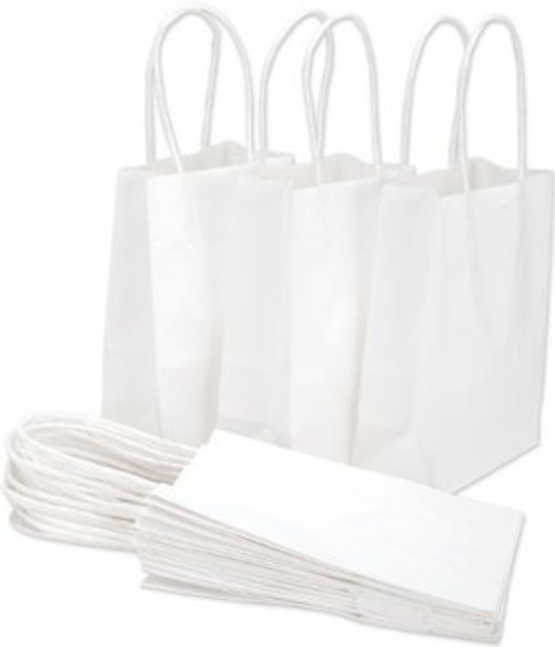 Recycled Shopping Bag with Handle, 5 1/2 x 3 1/4 x 8 3/8, White, 250/case