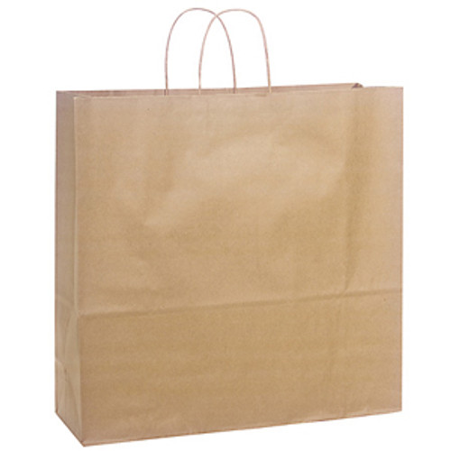 Recycled Shopping Bag with Handle, 16 x 6 x 12, Kraft, 250/case