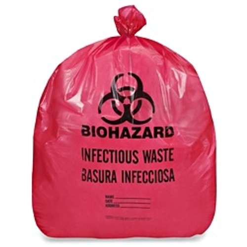 Biohazard Infectious Waste Liner, 7 - 10 Gallon, 24 x 24, Red, 500/Case