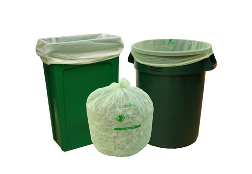 Compostable Trash Bag, 33 Gallon, 33 x 40, 1 Mil, Green, 200/case