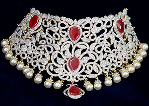 Ruby stone AD necklace