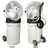 PVM18C Self-Contained Mister w/ Cart — Low Pressure Misting Fan Variable Speed Settings Optional Wheels Quick and Effortless Set Up 2200 CFM