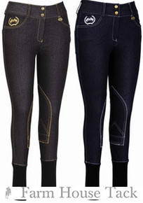 Equine Couture Ladies Bobbi Denim Schooling Knee Patch Breeches