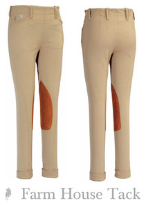 *Equine Couture Child's Coolmax Champion Side Zip Knee Patch Jodhpurs
