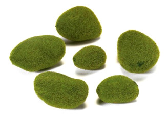 "Moss Stones - Artificial (3-3.5"" Assorted) moss green 10 pcs packed 12/cs"