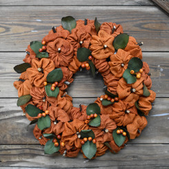 BURLAP PUMPKIN WREATH - 15""