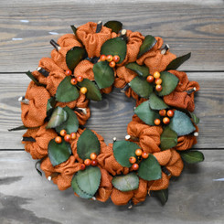 BURLAP PUMPKIN WREATH - 12""