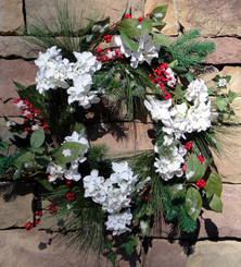 Hydrangea and Berry Wreath - White - 22""