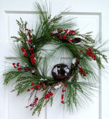 Pine Cedar and Red Berry Wreath - 24""