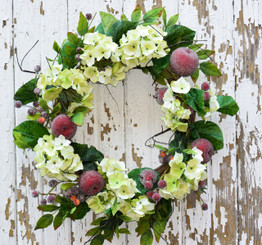 Hydrangea and Red Apple Wreath - 24""