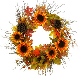SUNFLOWER BOUNTY WREATH - 22""
