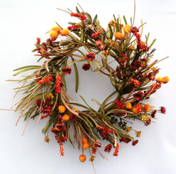 GRASS & FLOWER WREATH - 18""