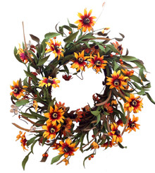 SUNFLOWER BUTTERCUP WREATH - 22""
