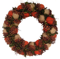 ACORN BURLAP WREATH - ORANGE/NEUTRAL - 22""