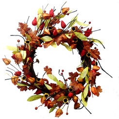 Fall Japanese Lantern Wreath - 22""
