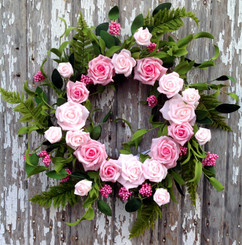 Rose Bouquet Wreath - Pink