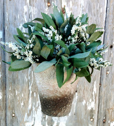 POTTED LAVENDER BLOOM - ARTIFICIAL - WHITE
