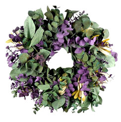 EUCALYPTUS WREATH - PURPLE/SAGE - 17""