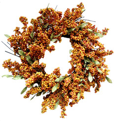 SOFT BERRY WREATH - HONEY - 24""