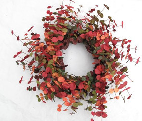 Faux Eucalyptus Wreath - Shades of Fall - 20""