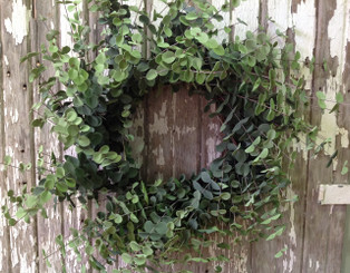 "Faux Eucalyptus Wreath 28"" - Shades of Green"