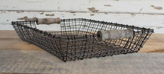 IRON & WOOD SQUARE BASKET - LG - 16 x 11 x 3""