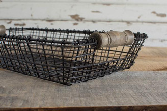 IRON & WOOD SQ BASKET MED - 13.5 X 8.25 X 2.5""