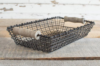 IRON & WOOD SQUARE BASKET - SM - 11 x 6.5 x 2.5""