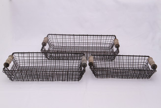 "IRON SQUARE BASKET - SET/3 - 15"", 13.5"", 11"""