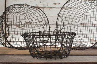 "IRON OVAL BASKET - SET/3 - 18"", 16"", 13"""