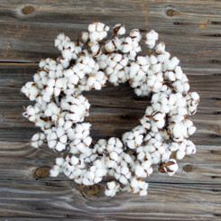 Faux Cotton Wreath - 28""
