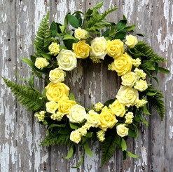 Rose Bouquet Wreath - Yellow