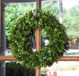 "FAUX BOXWOOD 18"" ROUND WREATH"