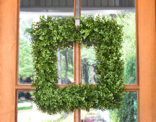 "FAUX BOXWOOD 19"" SQUARE WREATH"