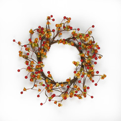 AUTUMN BERRY CANDLE RING - 6""