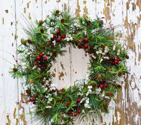 """HOLIDAY PINE & BERRY WREATH - 24"""""""