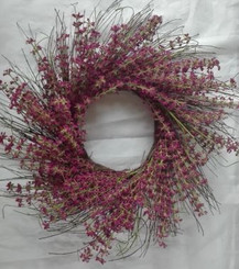 Flower Bouquet Heather Wreath 24""