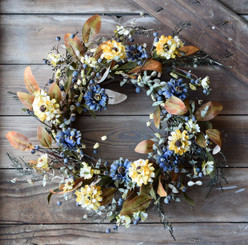 BLUEBERRY & MARIGOLD WREATH 22""