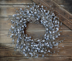 SILVER BUNNY TAIL WREATH - 26""