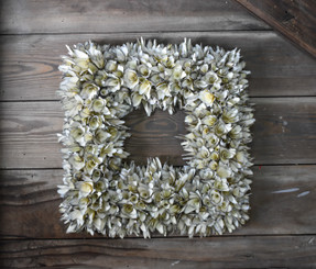 "WOOD FLOWER SQUARE WHITE 15"" WRTH"