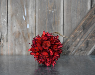 WOOD FLOWER BALL RED 4.75""