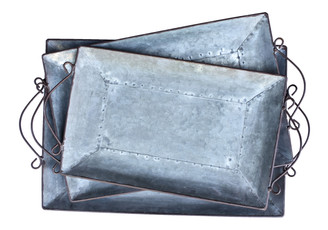 "GALVANIZED TRAY SET/3 - 18"", 16.9"", 14.9"""