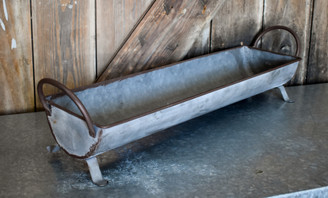 "GALVANIZED BREAD BASKET - SM - 20"" x 5.1"" x 2.9"""
